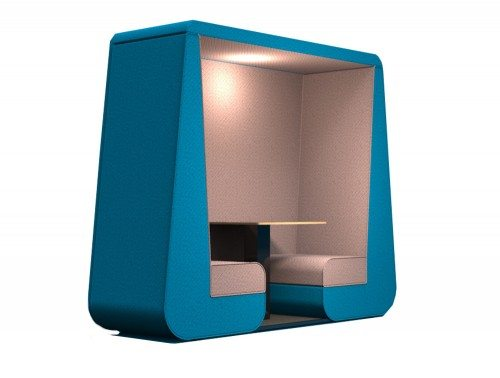 Bob 2 seat meeting pod with wall in blue colour and overhead led lights