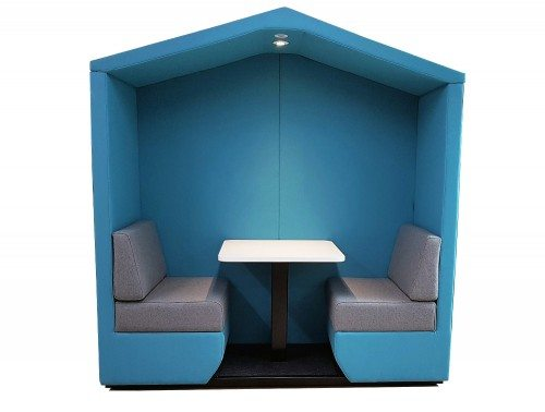 Bea Roofed 2 Seat Meeting Pod in Blue with Overhead Led Lights