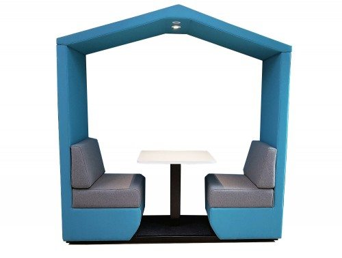 Bea 2 seater meeting den without wall in cool blue with overhead led lights