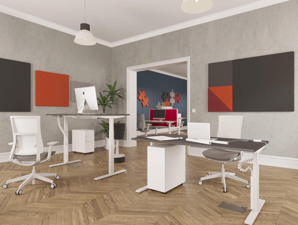 Leap-Electric-Sit-Stand-Bench-Desks-in-Office-Interiors-with-Brown-Chair