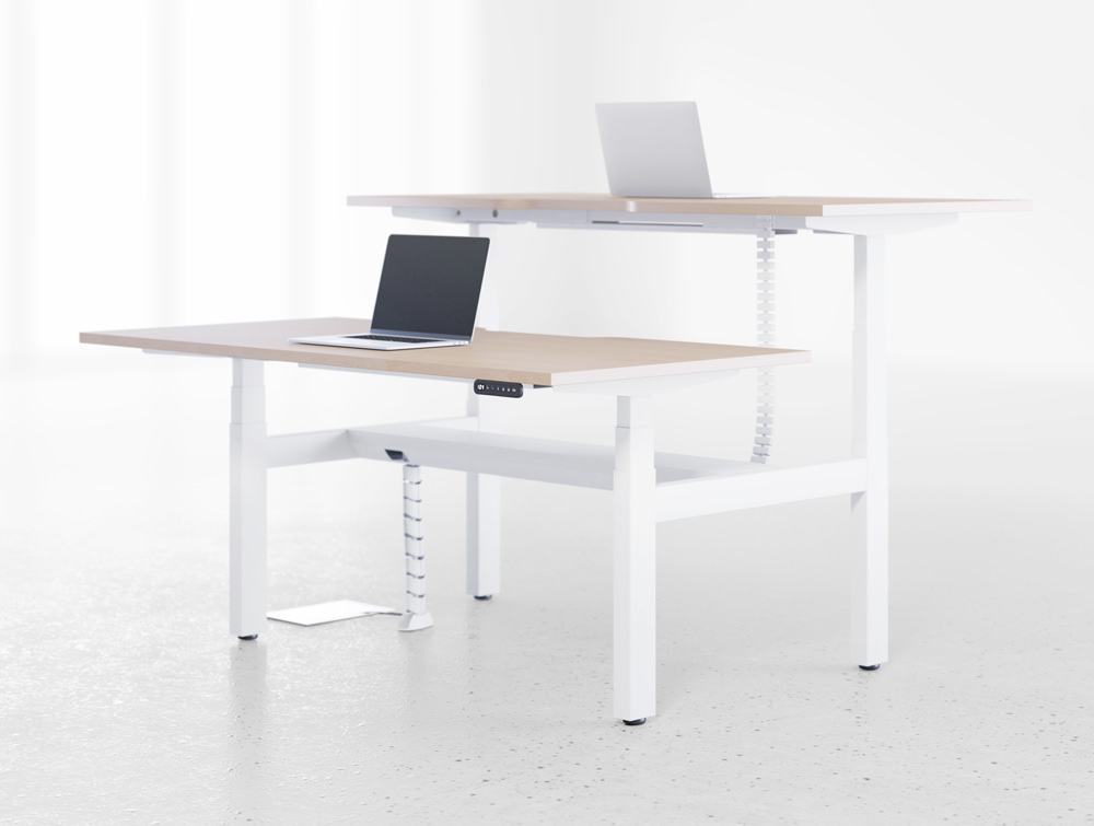 Leap-Electric-Sit-Stand-Bench-Desks-in-Wood-and-White-Frame