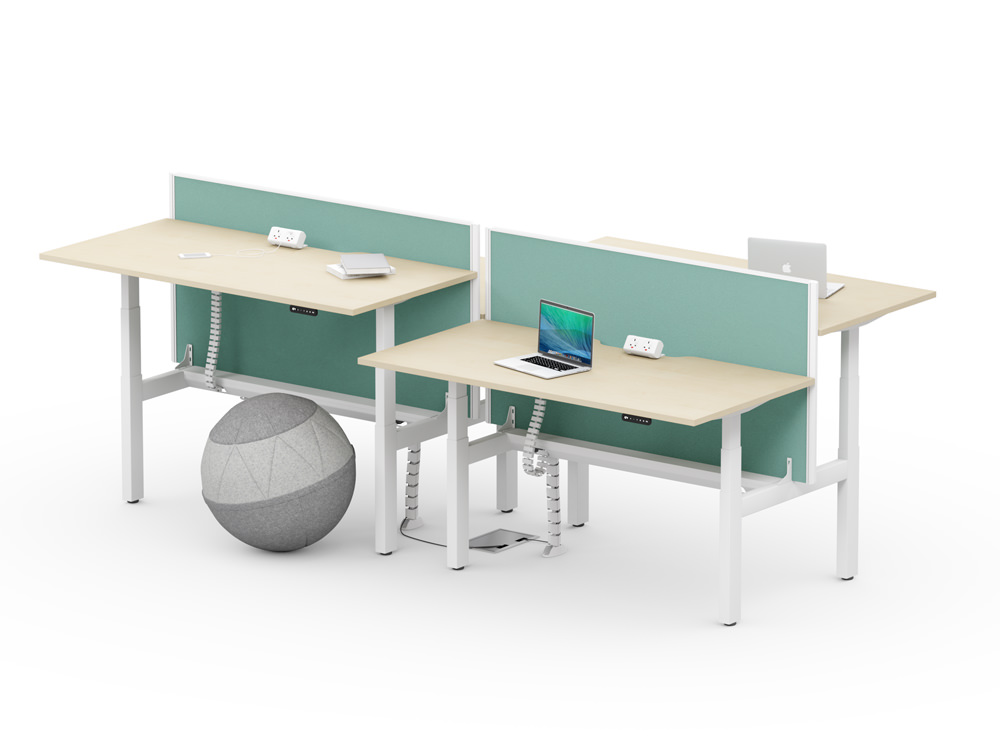Leap-Electric-Sit-Stand-Bench-Wooden-Desks-with-Desk-Screens-and-Round-Pouffe