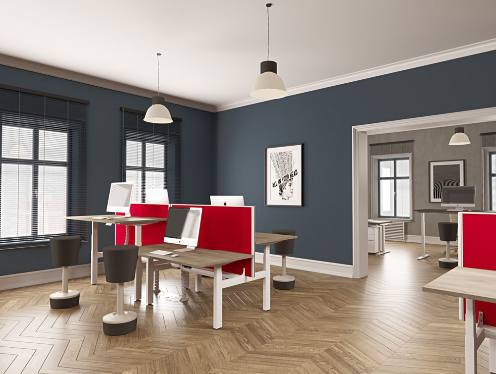 Leap-Electric-Sit-Stand-Single-Desk-in-Oak-with-Movement-Chairs