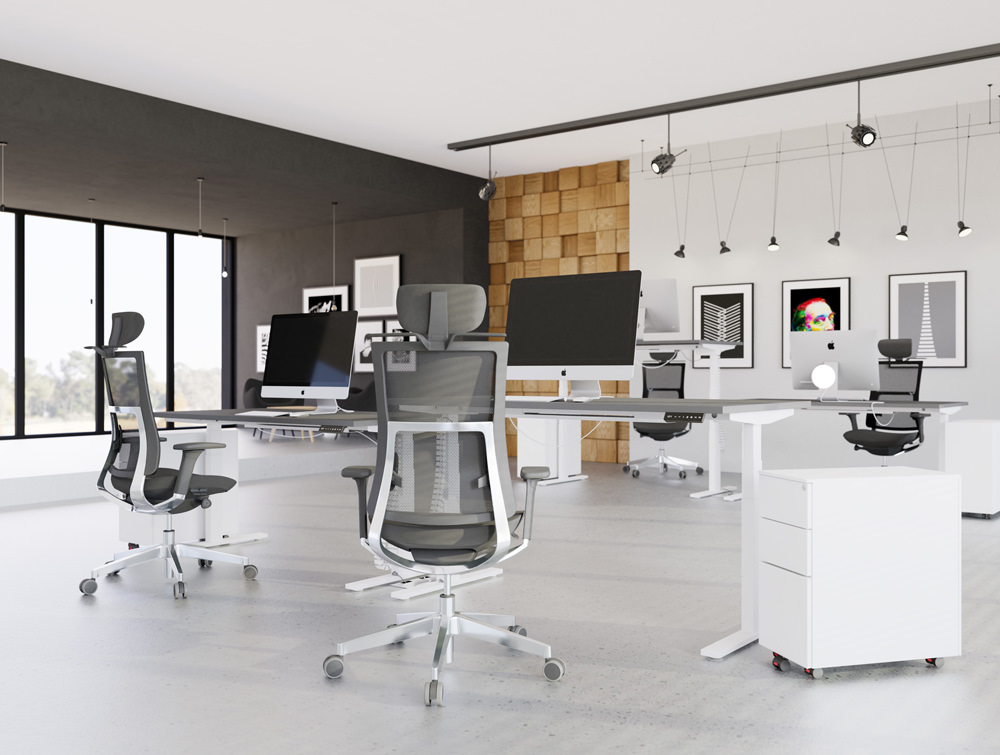 Leap-Electric-Sit-Stand-Single-Desk-in-White-with-Pedestals
