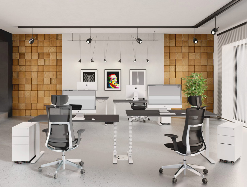 Leap-Electric-Sit-Stand-Single-Desks-in-White-in-Office-Interiors-with-Mesh-Chairs