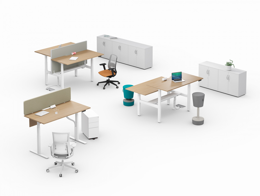 Leap-Electric-Sit-Stand-Wooden-Desks-in-Office-Interiors-with-Mesh-Chairs-Movement-Chairs-and-Credenza-Unit