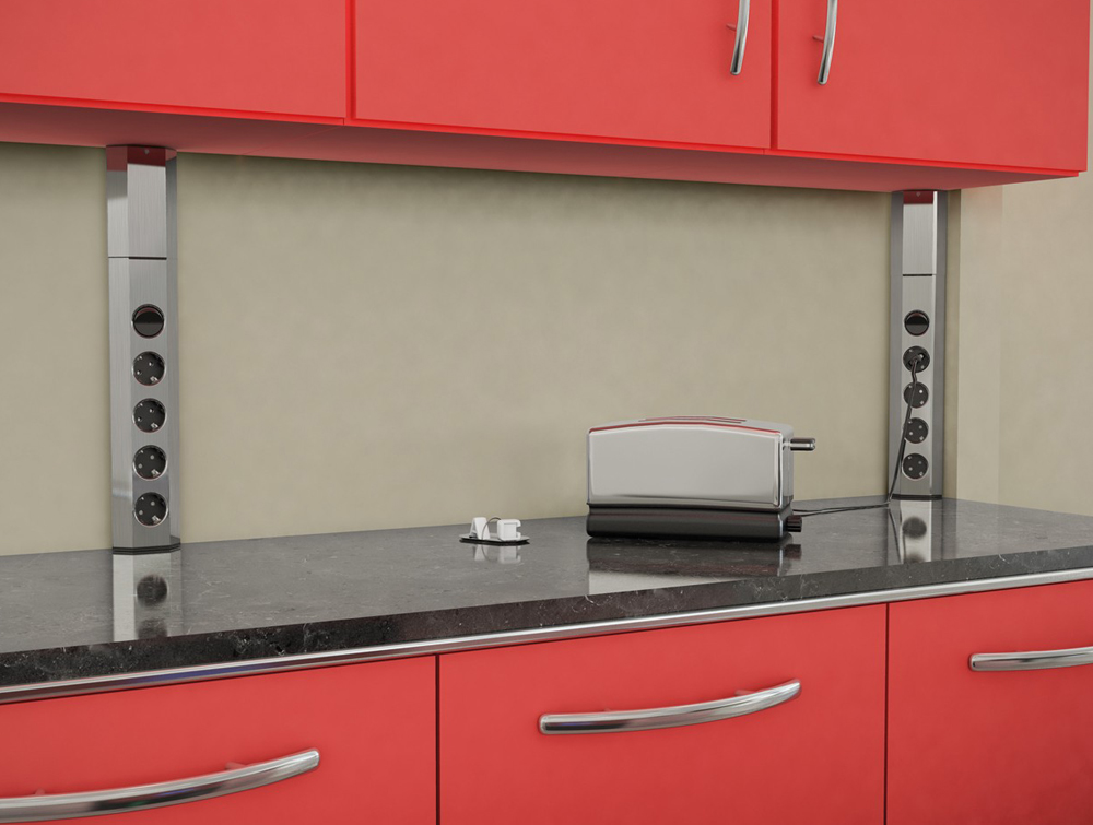 Bachmann-Casia-Stainless-Steel-Powerstrips-Standing-in-Kitchen-Area