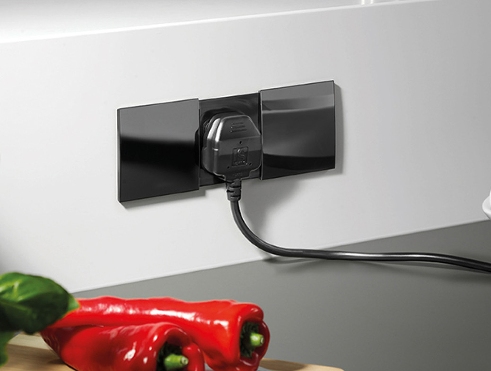 Bachmann-Due-Dual-Power-Module-Black-with-Open-Interchangeable-Covers-in-Kitchen-Area
