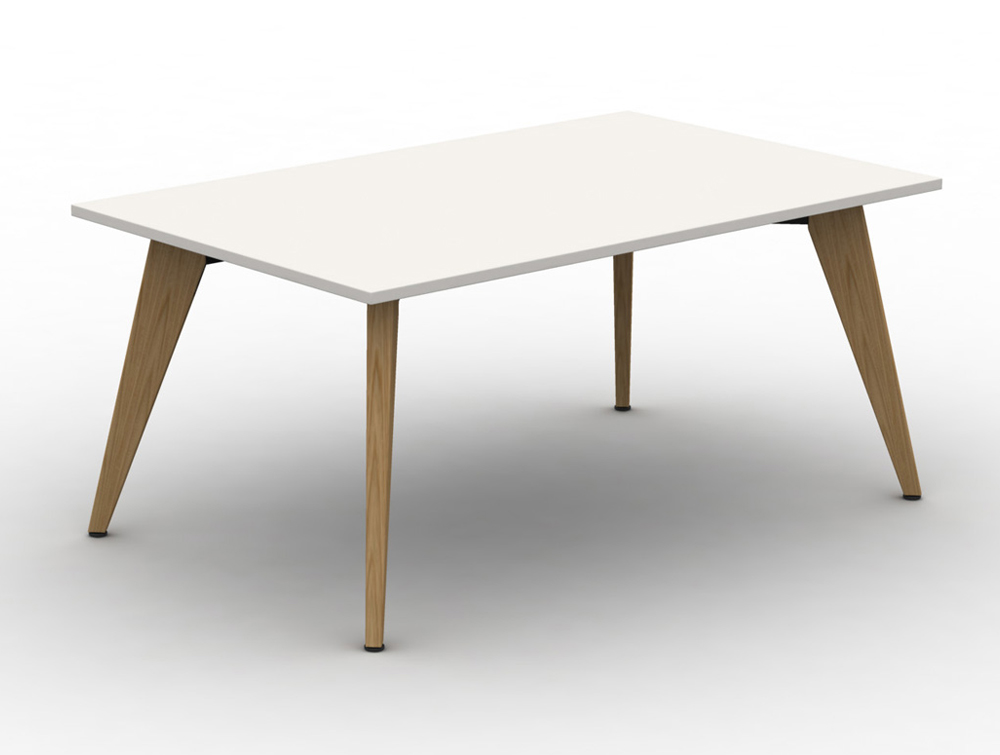 Mobili Pyramid White Bench-Desk-with-Wooden-Legs
