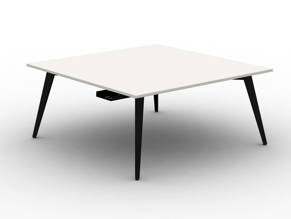 Mobili Pyramid Back to Back White Desk with Steel Legs