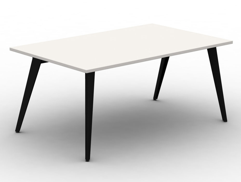 Mobili Pyramid Low White Bench Desk with Steel Legs