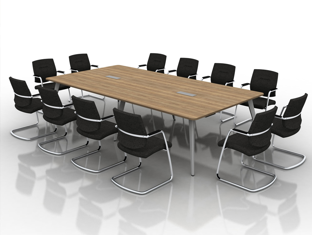 Mobili Pyramid Meeting Table with Steel Legs and Power Sockets