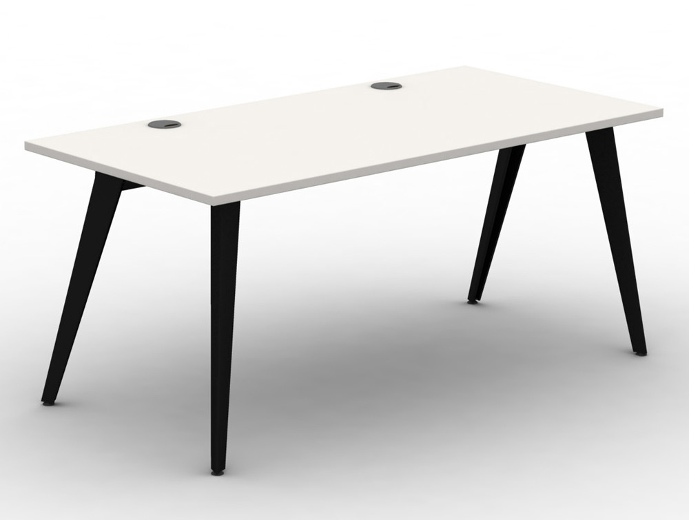 Mobili Pyramid White Bench Desk with Steel Legs and Portals