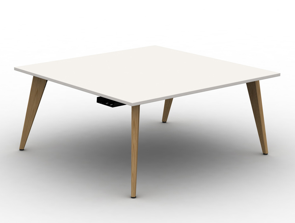 Mobili Pyramid Back to back White Desk with Wooden Legs