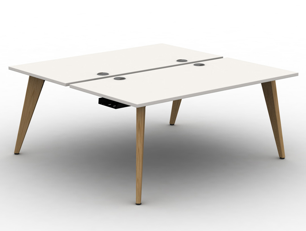 White Office Desk assembled with Wooden Legs and Portals - Mobili Pyramid back to back