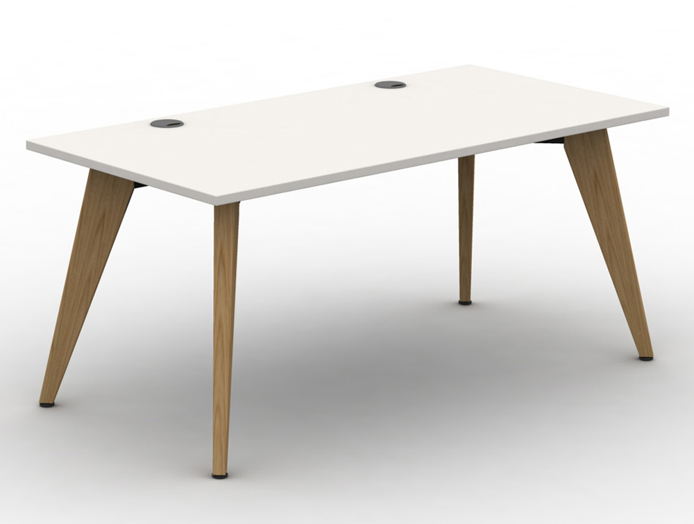 Mobili Pyramid White Bench Desk with Wooden Legs and Portals