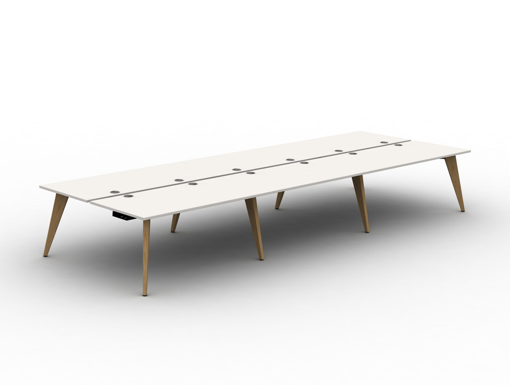 Mobil Pyramid 6 seater desk with scallops and wooden legs