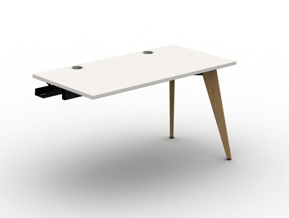 Mobili Pyramid Bench Desk Module with Wooden Legs