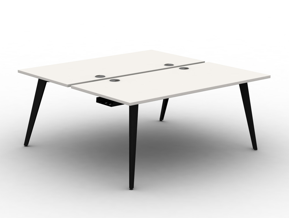 Mobili pyramid back to back white desk with steel legs and scallops