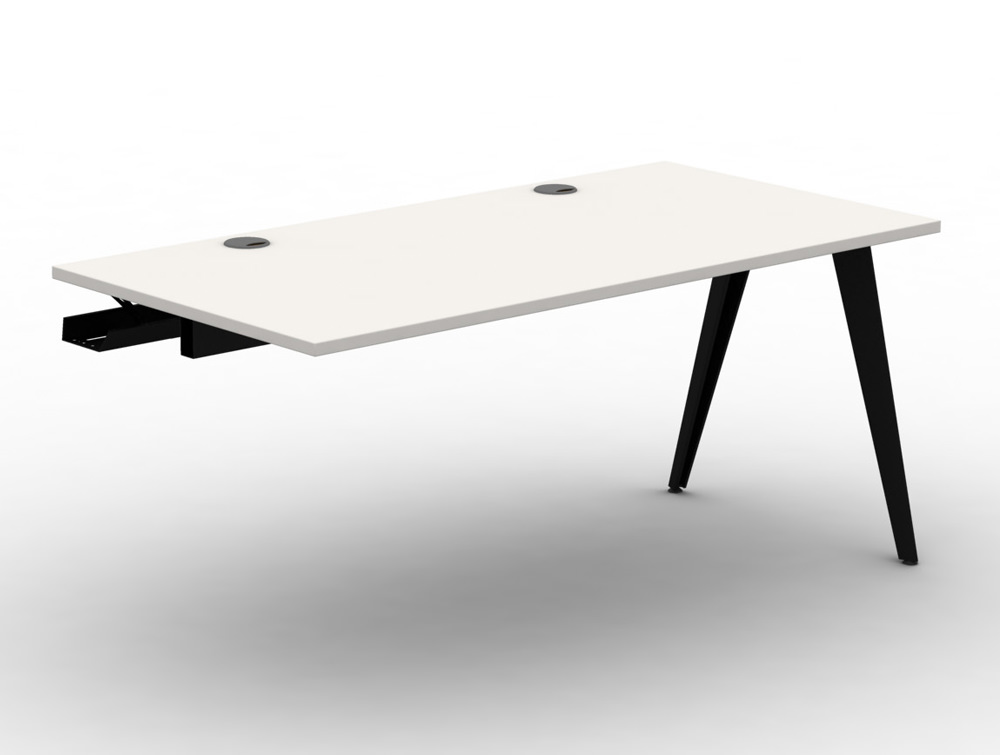 Mobili Pyramid Bench Desk Module with Scallops and Steel Legs
