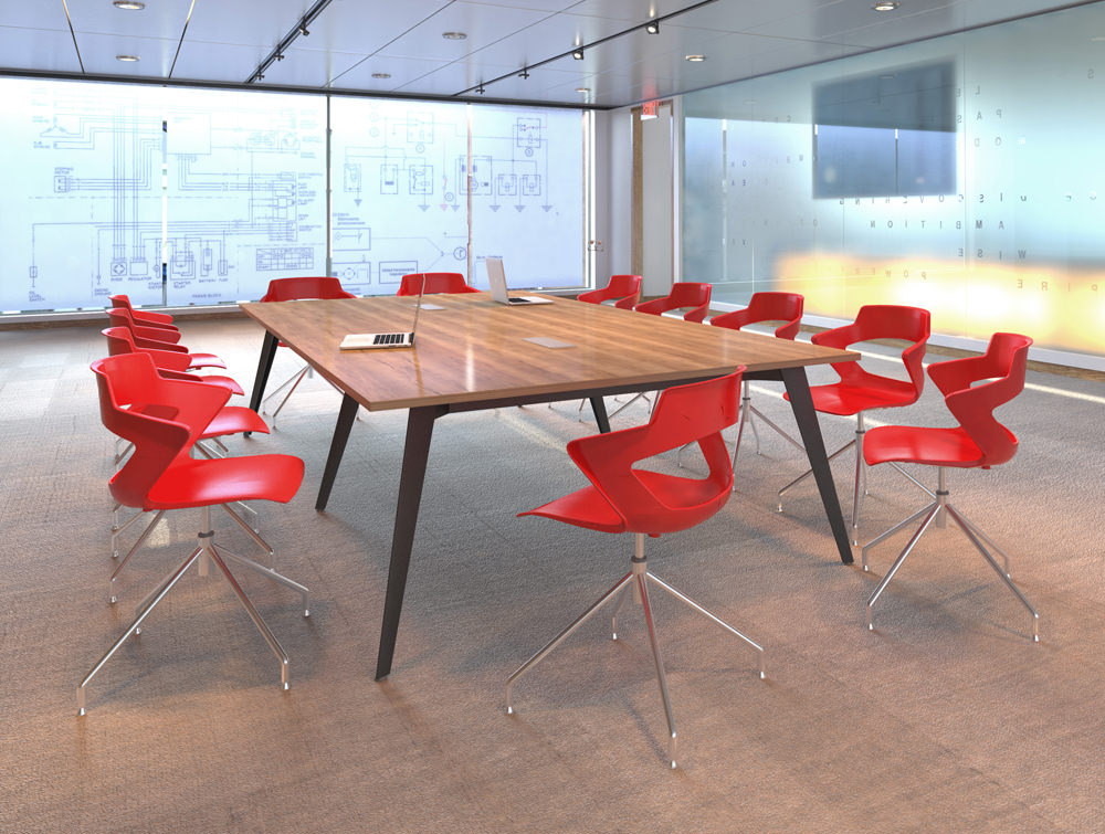 Mobili Pyramid Meeting Desk with red colour chairs