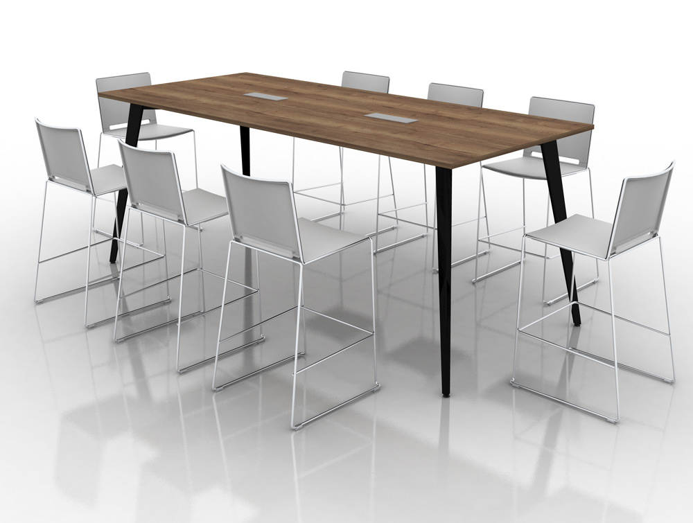 Mobili pyramid high meeting table with steel legs