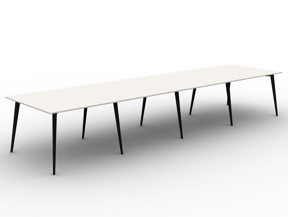 Mobili Pyramid high white meeting table with steel legs