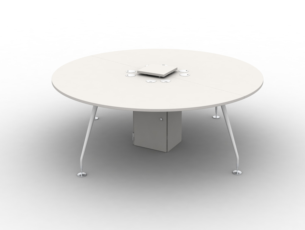 Arthur 4 Person White Round Desking System with Steel Legs