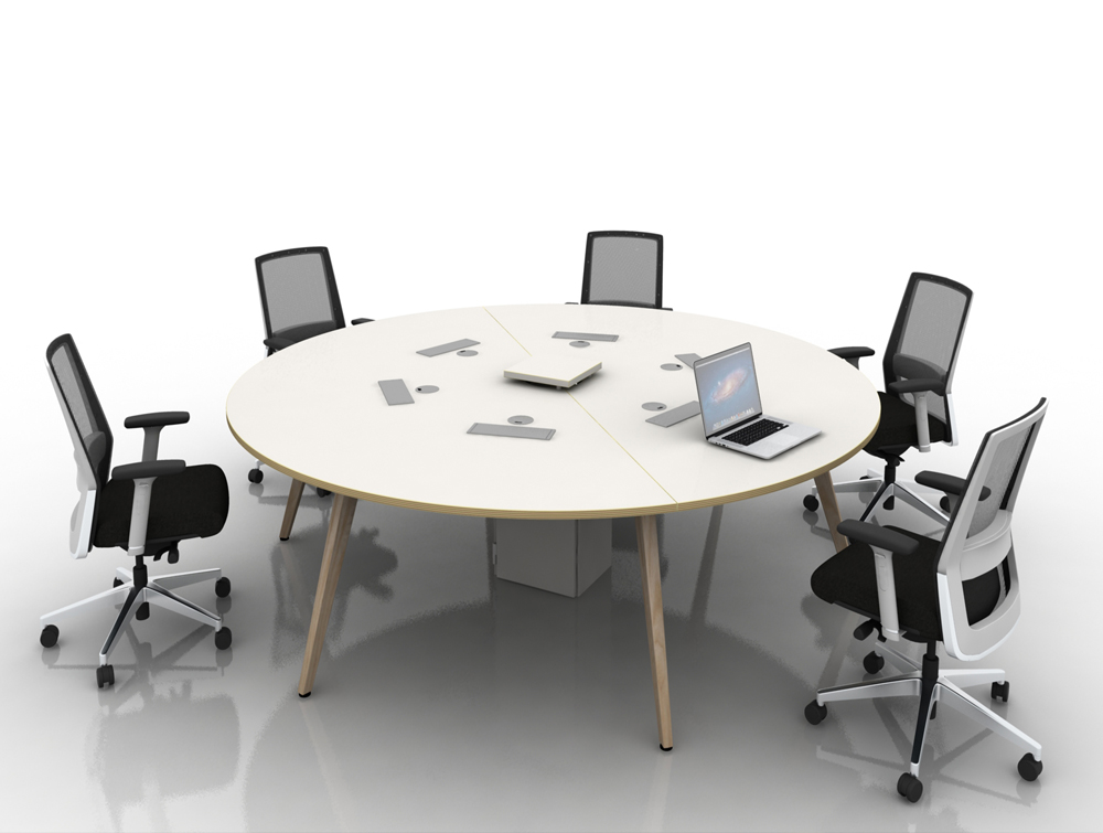 Arthur 6 Person Round Desking System with Chairs and Wooden Legs