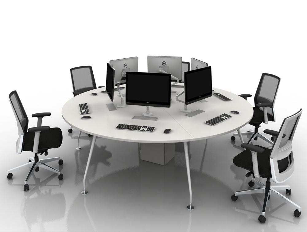 Arthur 6 Person Round Desking Sytem with Computers and Steel Legs