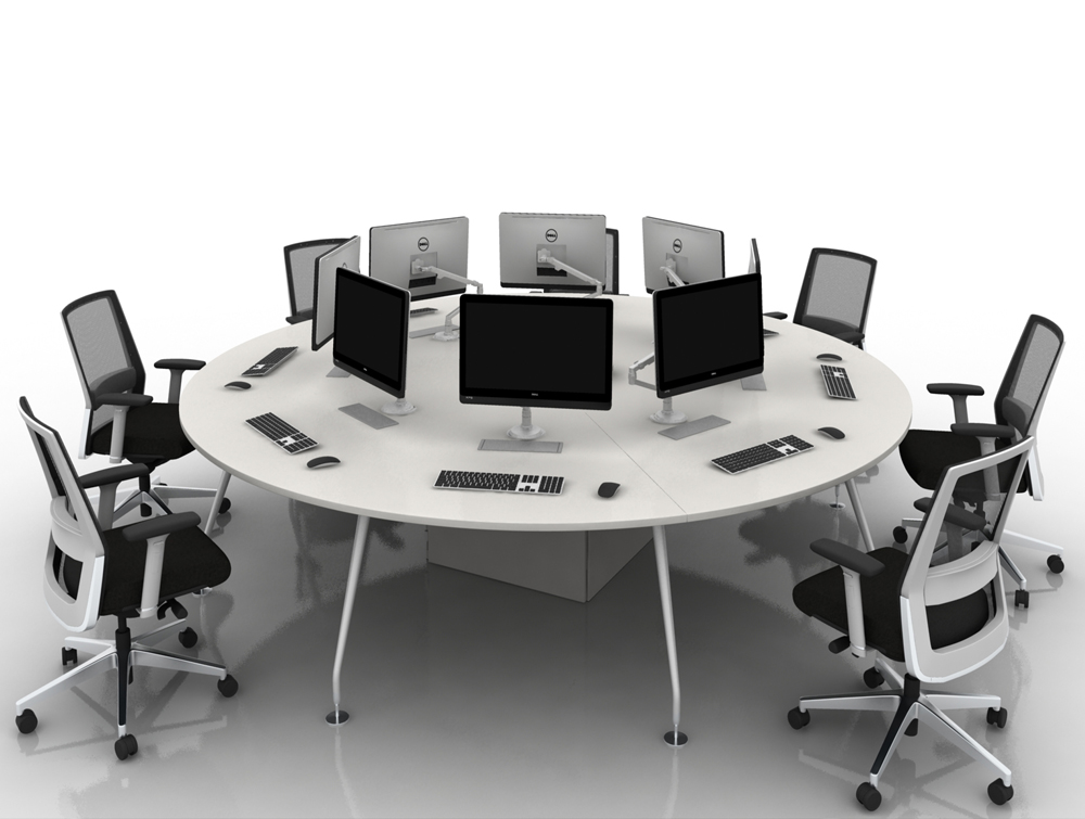 Arthur 8 Person Round Desking System with Computers and Steel Legs