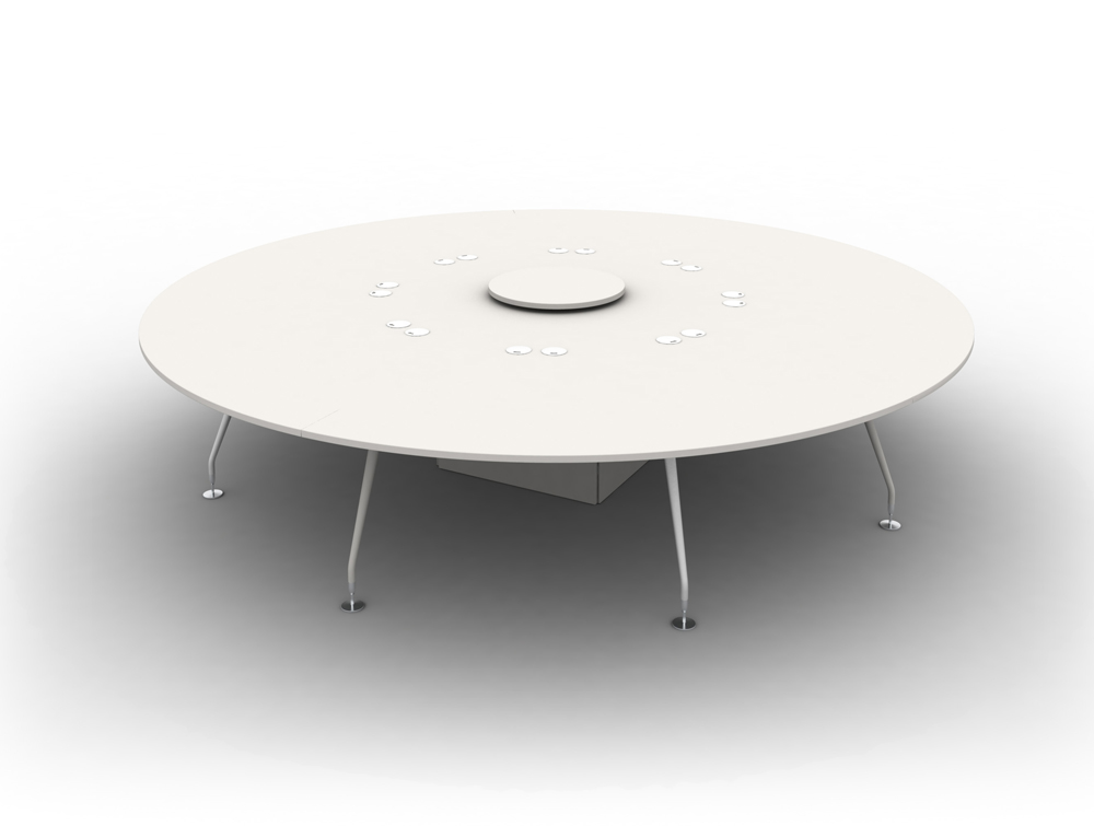 Arthur 8 Person Round Desking System with Steel Legs