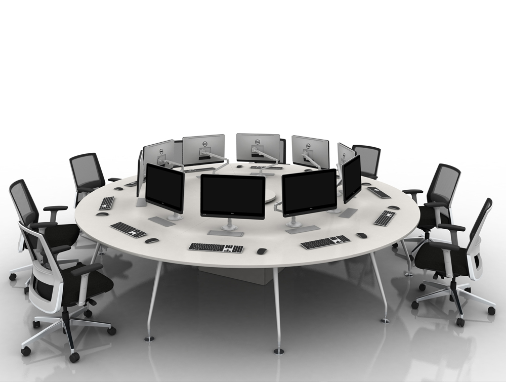 Arthur 10 Person Round Desking System with Computers and Steel Legs