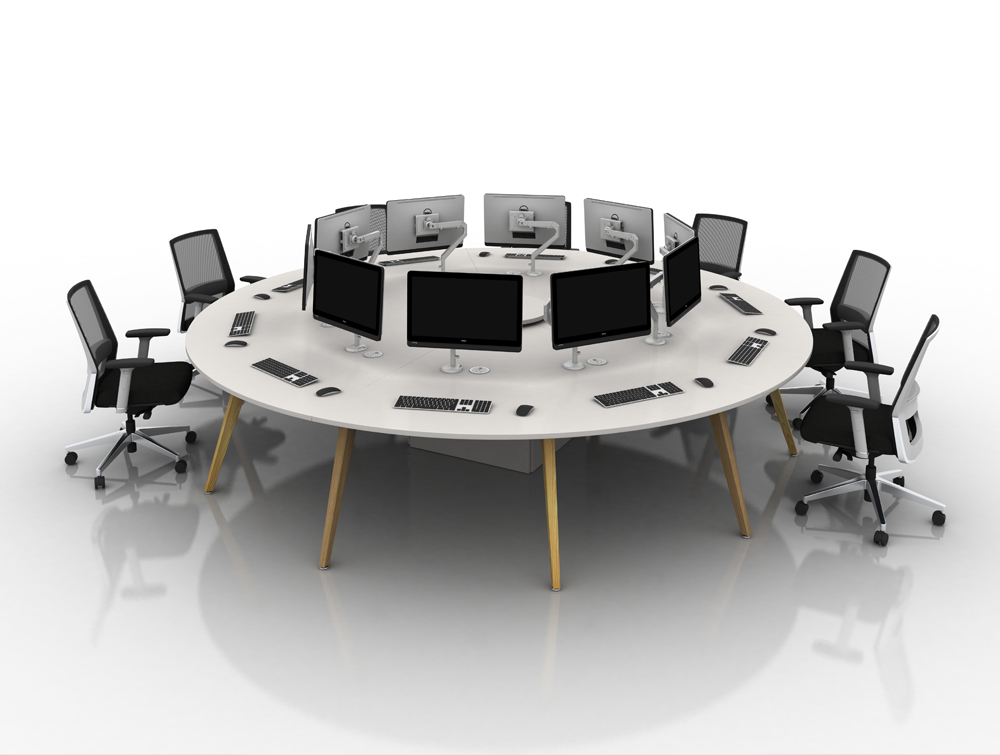 Arthur 10 Person Round Desking system with Computers and Wooden Legs