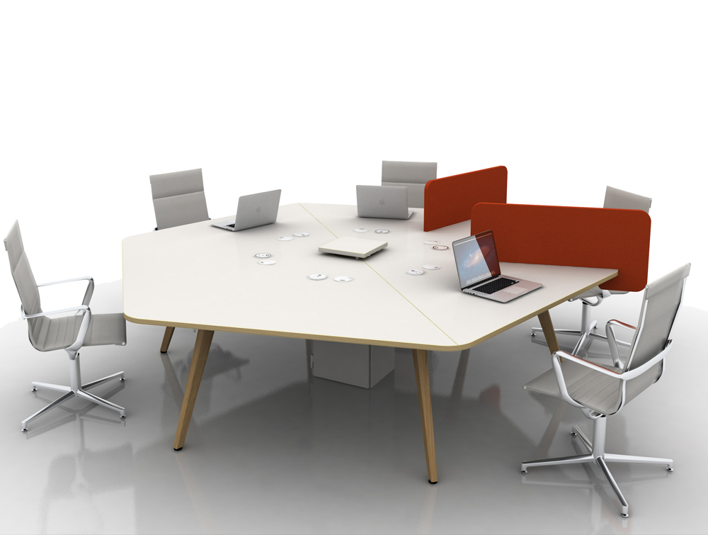 Arthur 6 Person Hexagonal Desking System with Computers and Wooden Legs