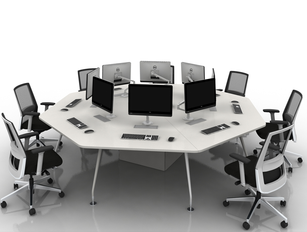 Arthur white 8 Person Octogonal Desking System with Computers and Chairs