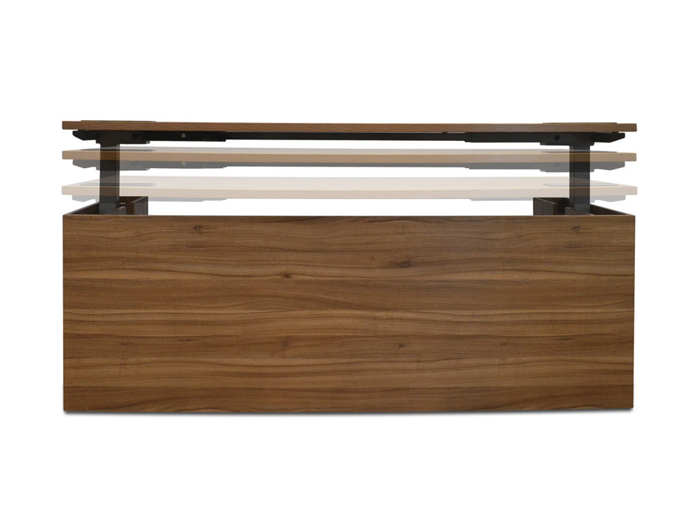 Alto-Executive-Sit-Stand-Electric-Desk-in-Black-Walnut-Raising-Front-View