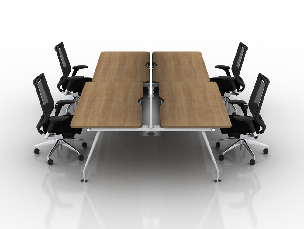 Vega Bench Desking of 4 with Black Chairs