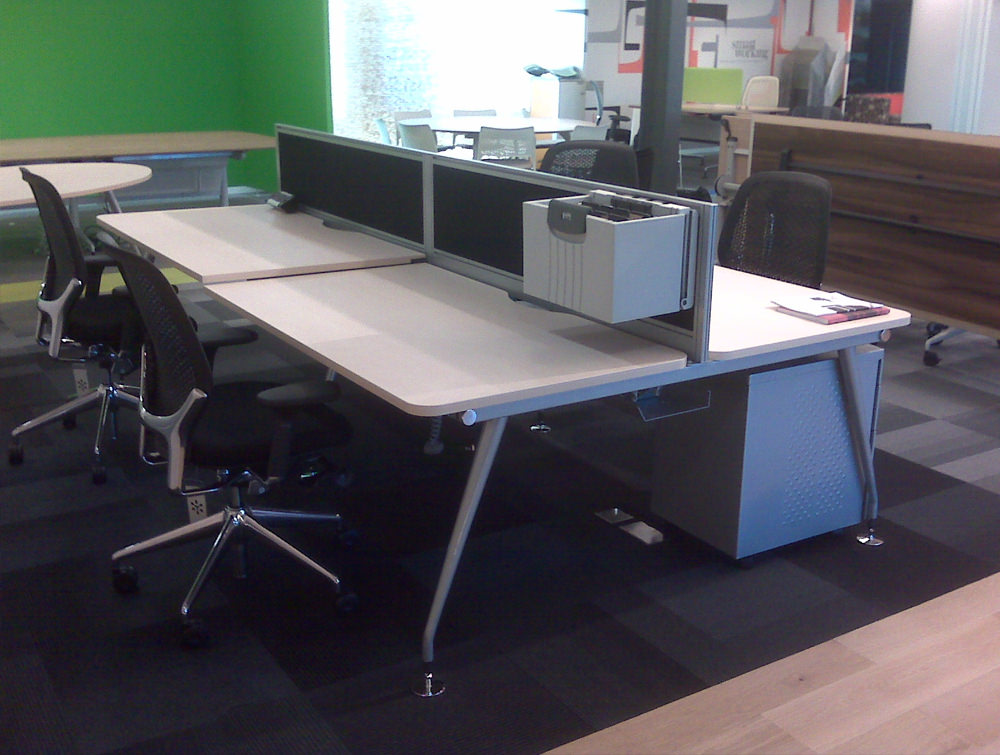 Vega Bench Desking of 4 with Sceens and Chairs