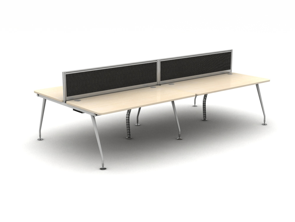 Vega Bench Desking of 4 with Sceens and Steel Legs