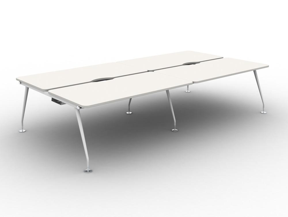 Vega Bench Desking of 4 with White Finish and White Legs