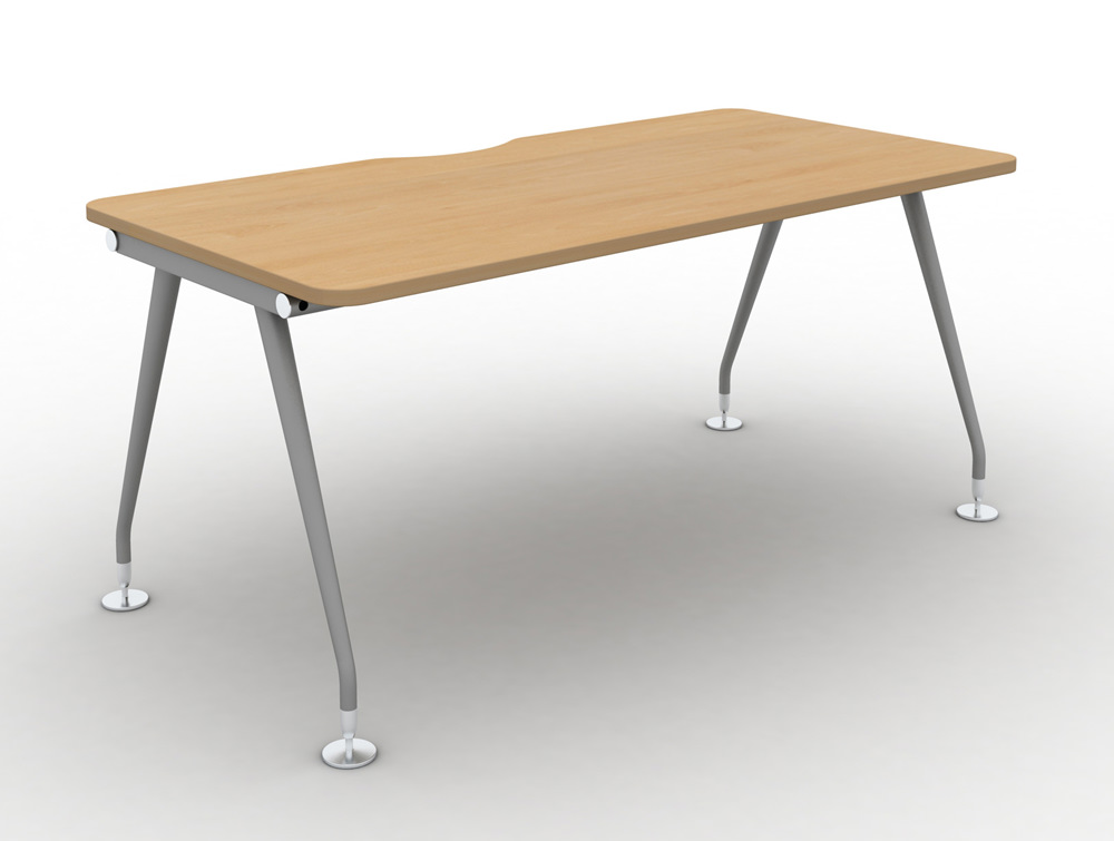 Vega-Solo-Bench-Desk-with-Beech-Finish-and-Silver-Legs