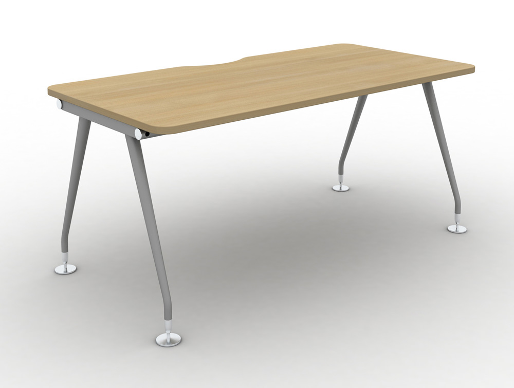 Vega-Solo-Bench-Desk-With-Oak-Finish-and-Silver-Legs
