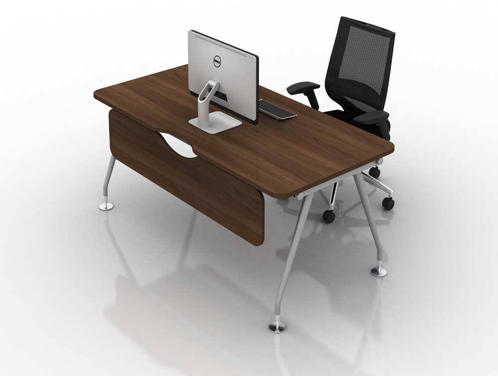 Vega-Solo-Bench-Desk-with-Walnut-Finish-and-Computer