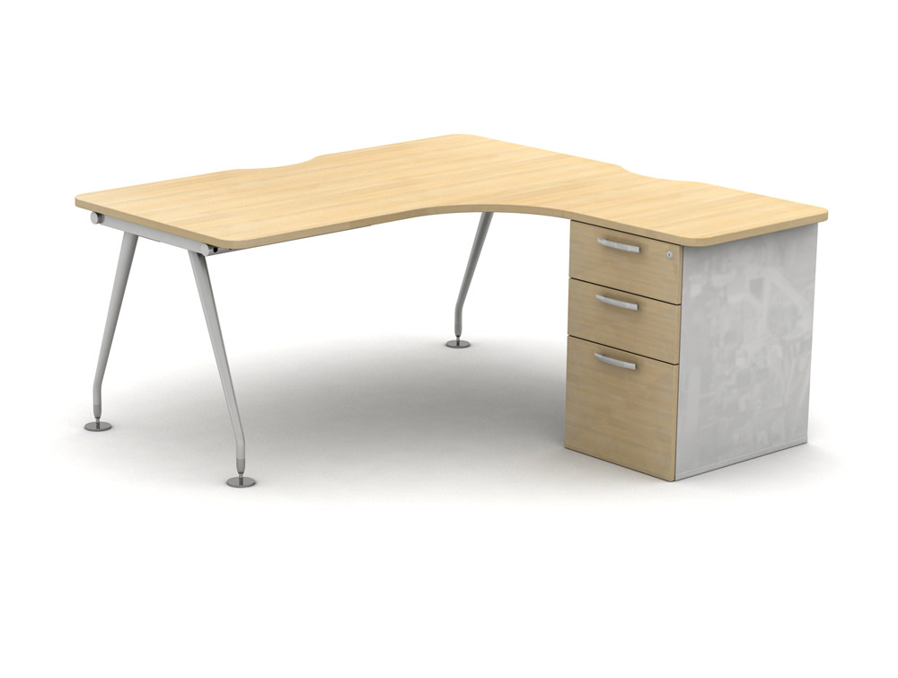 Vega Solo Radial Desk with Drawers