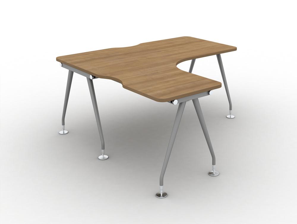 Vega solo Radial Left hand desk in cherry finish and steel legs