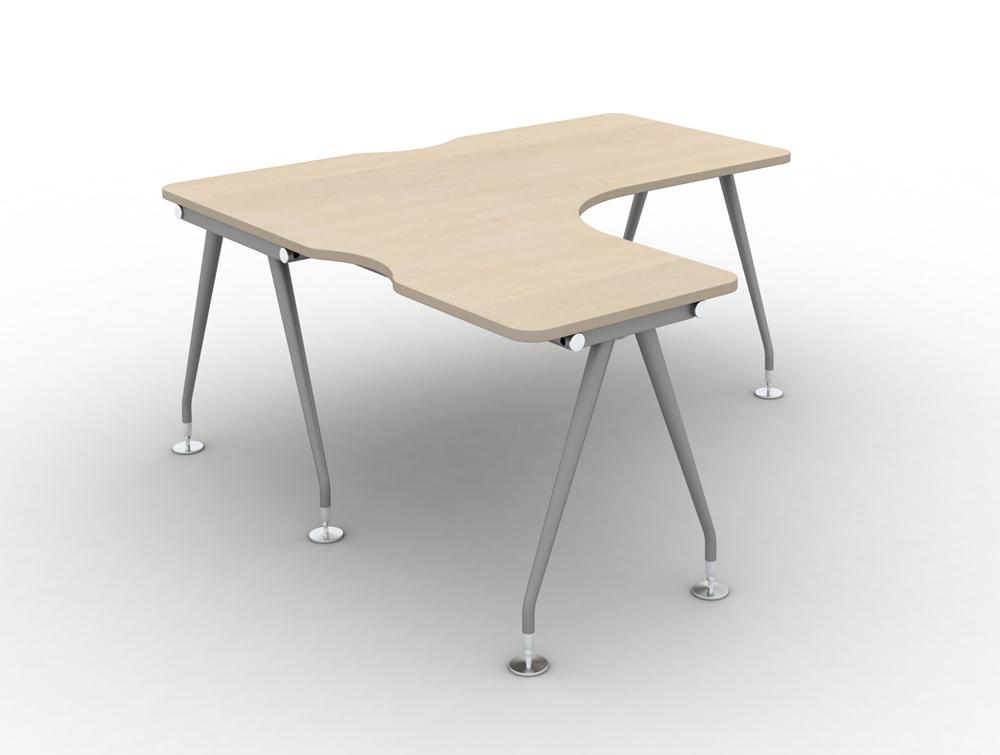 Vega solo Radial Left hand desk in maple finish and steel legs
