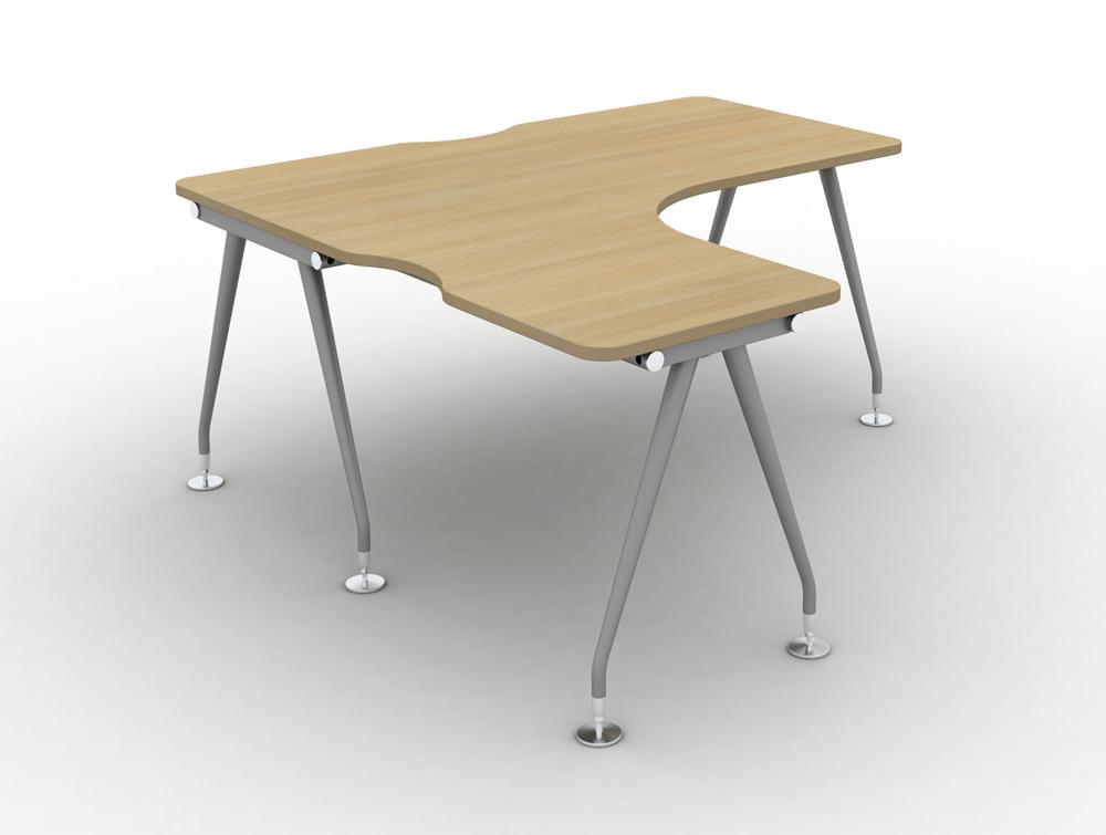 Vega solo Radial Left hand desk in OAK finish and steel legs