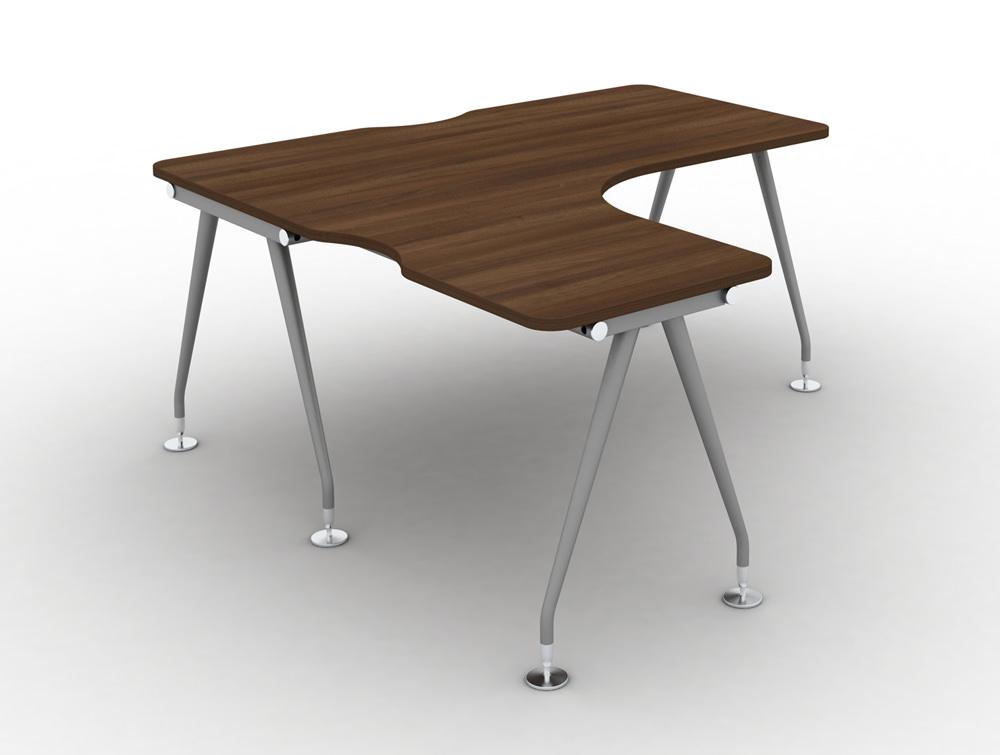 Vega Solo Radial left-hand desk with Steel Legs