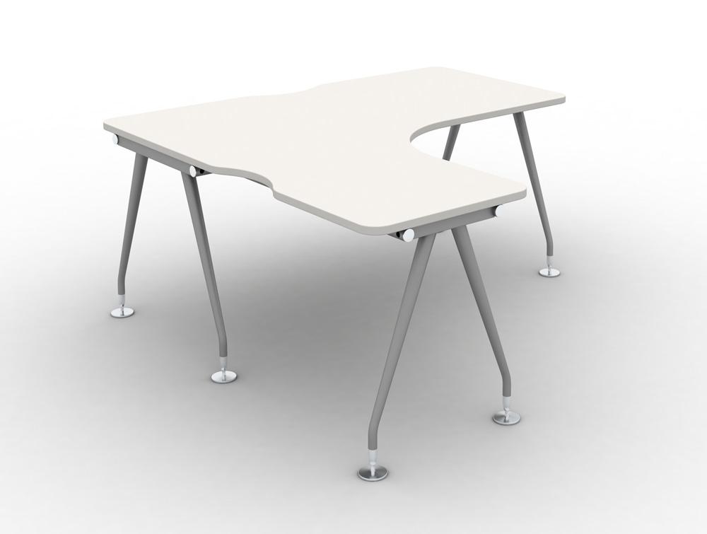 Vega - Model:Solo Radial Left-Hand Desk. Upper table in white finish and silver legs